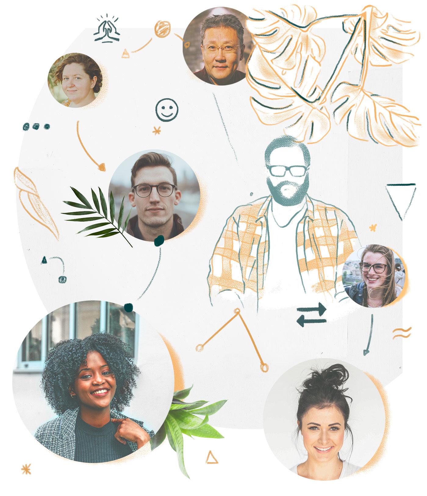 edusiia Header-Bild, das verschiedene Menschen in einer Collage verbindet