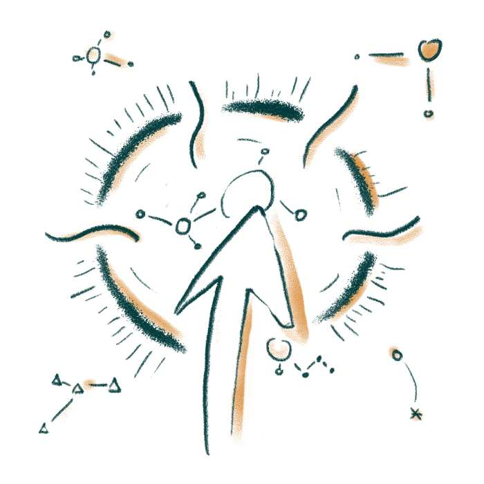 Eine Illustration, die mit Pfeilen den Mitmach-Gedanken von edusiia darstellt