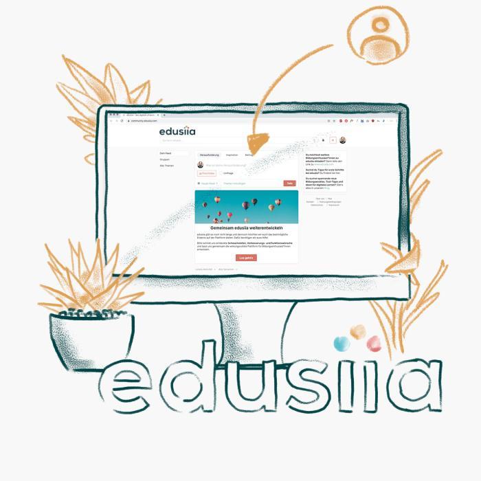 Ein Computer-Bildschirm, auf dem die edusiia-Plattform zu sehen ist